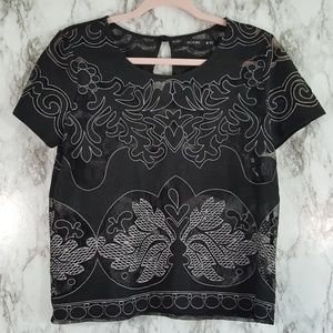 Acemi Black White Sheer Lace Boxy Top M T149